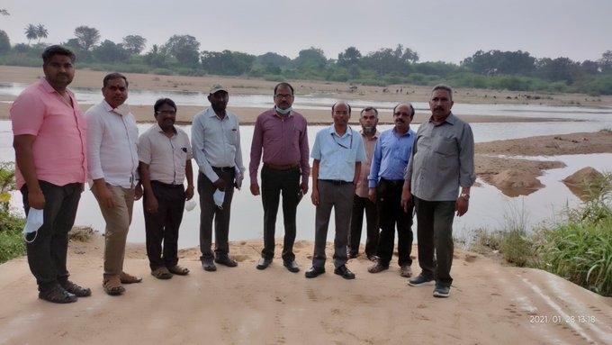 Site visit at proposed aqueduct on Ponnaiyar river crossing